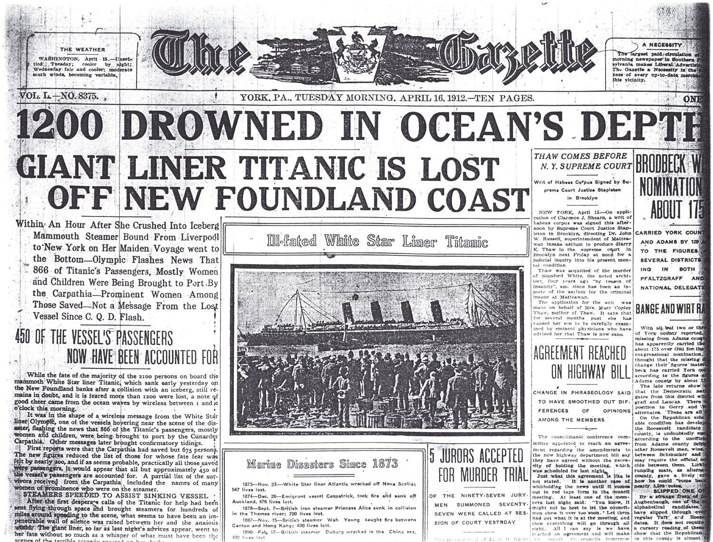 Titanic1912headlines Titanic 2 April 15, 1912