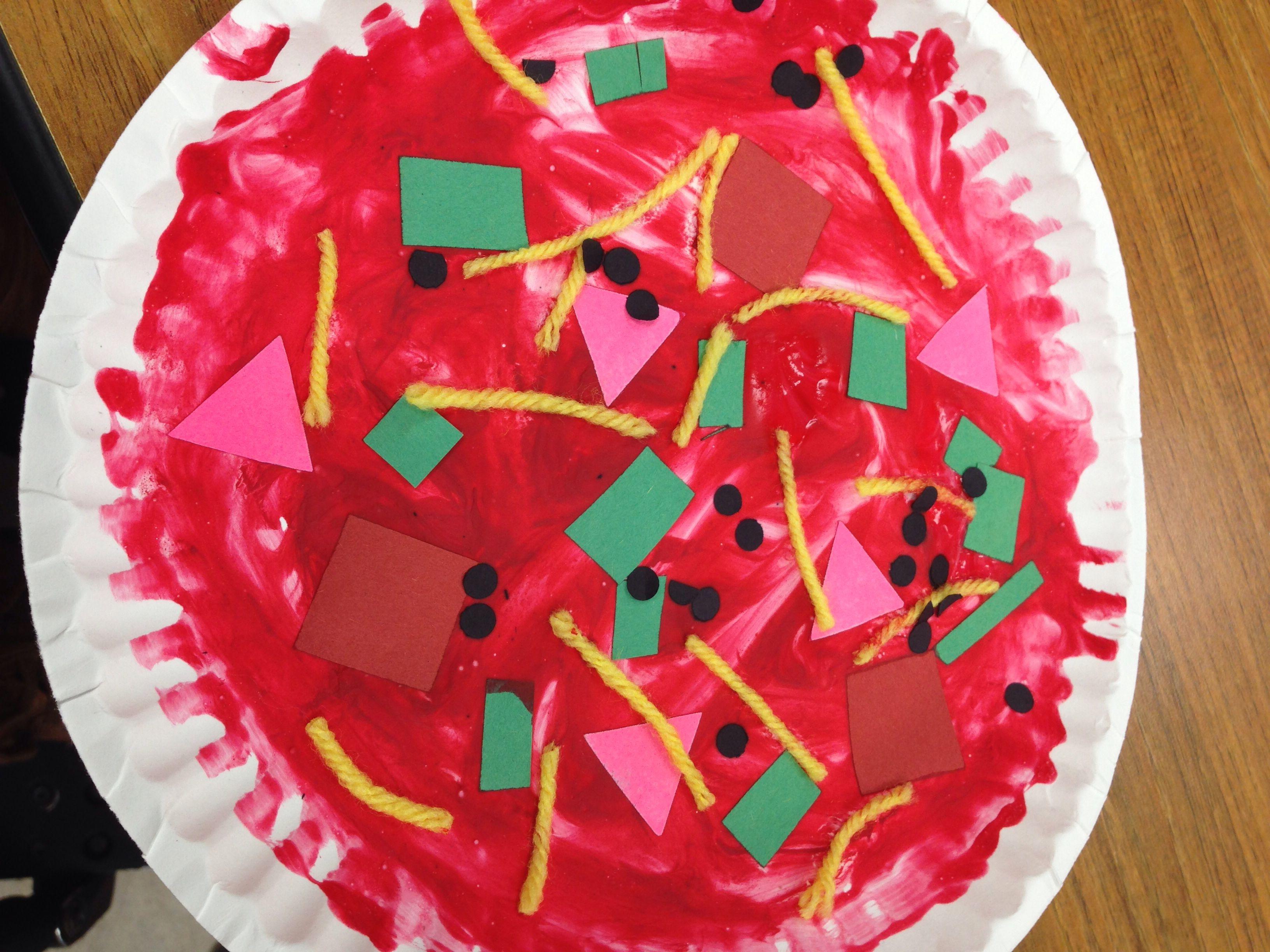 Pizza Preschool Art Project Paper Plate As Dough Red