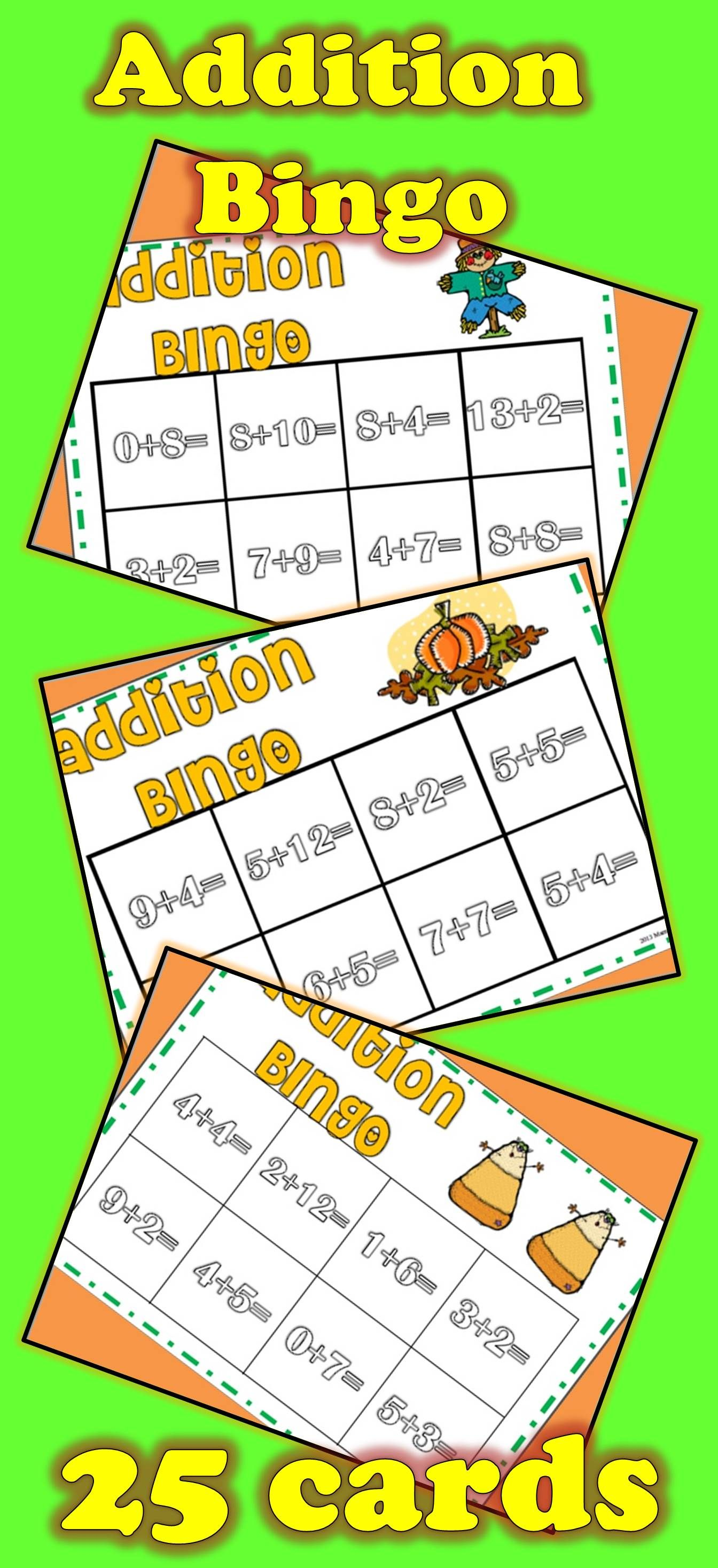 25 Addition Bingo Cards With Fall Theme