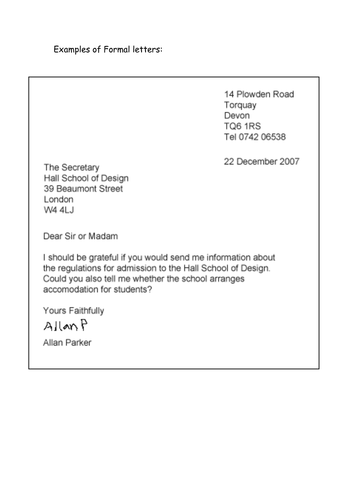 Formal letter example Didáctica English Pinterest