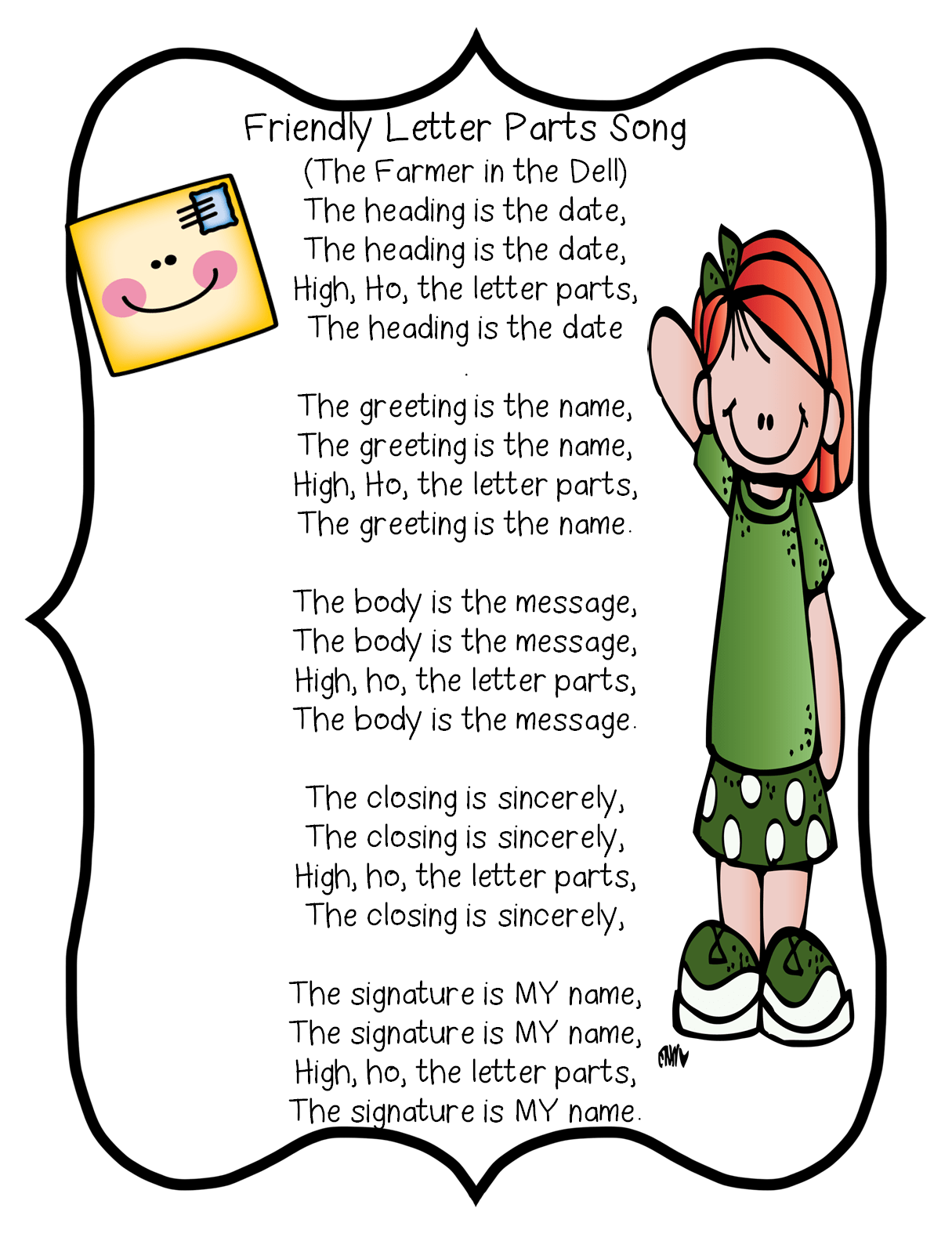 Friendly Letter Parts Song First Grade Wow