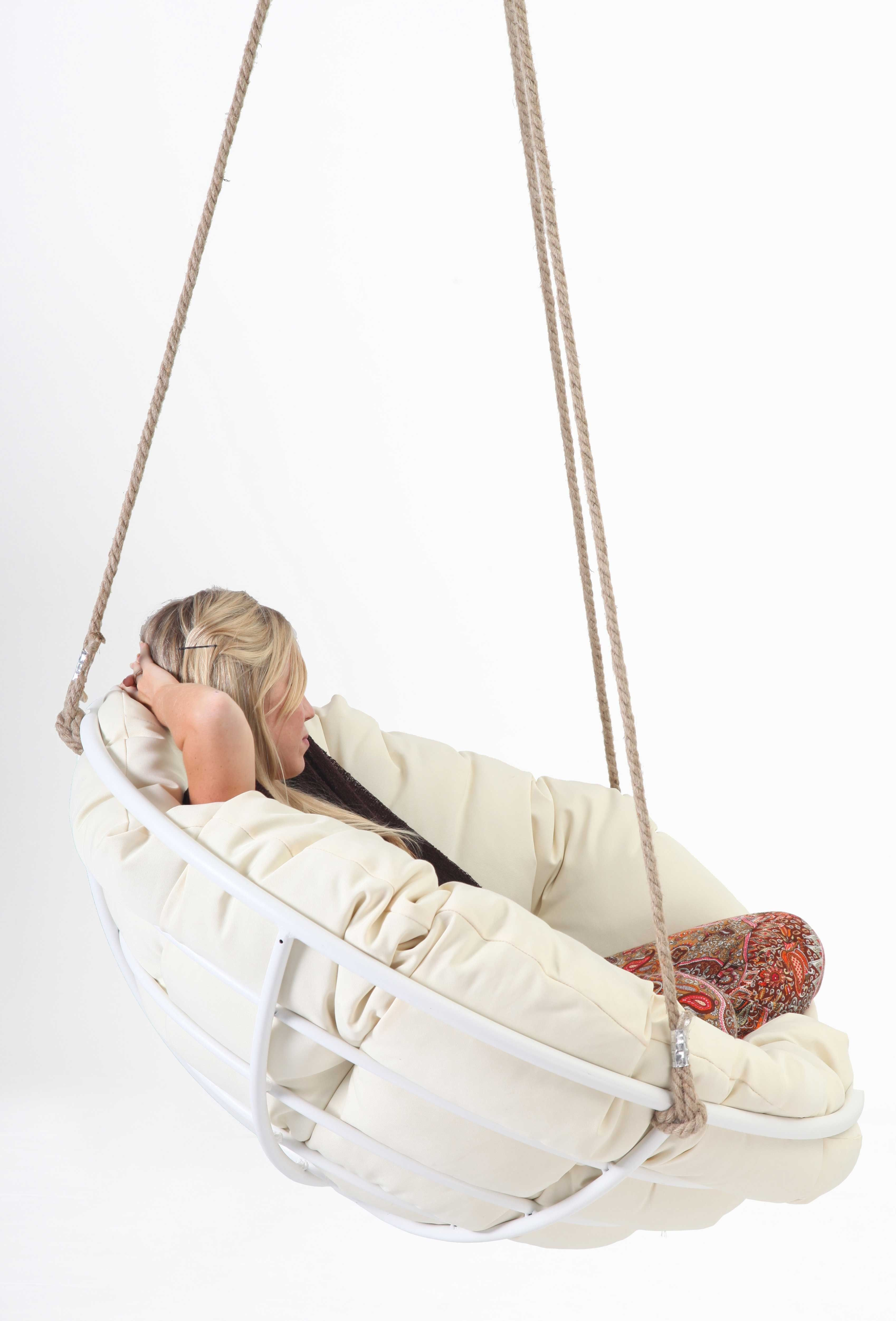 Decorating White Framed Hanging Papasan For Your House
