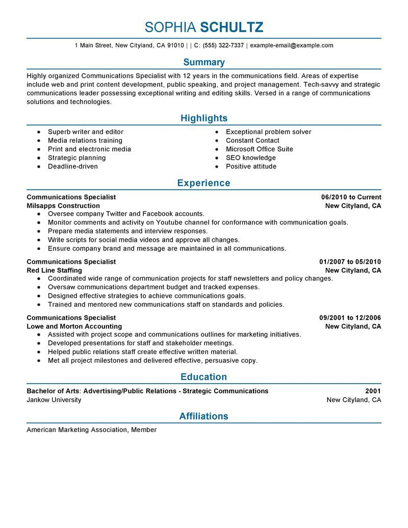 communications resume examples template