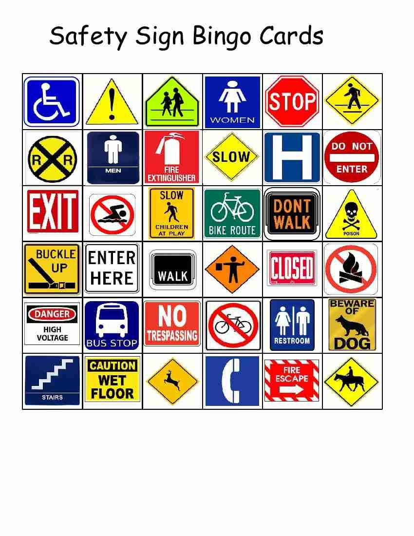 Empowered By THEM Safety Sign Bingo School/OT