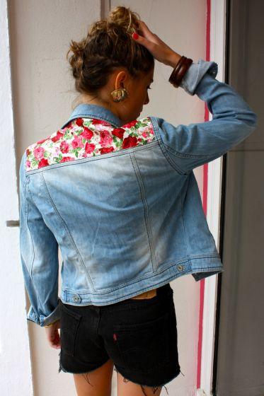"""Résultat de recherche d'images pour """"empiècement fleuri sur vos veste en jeans greenky"""""""