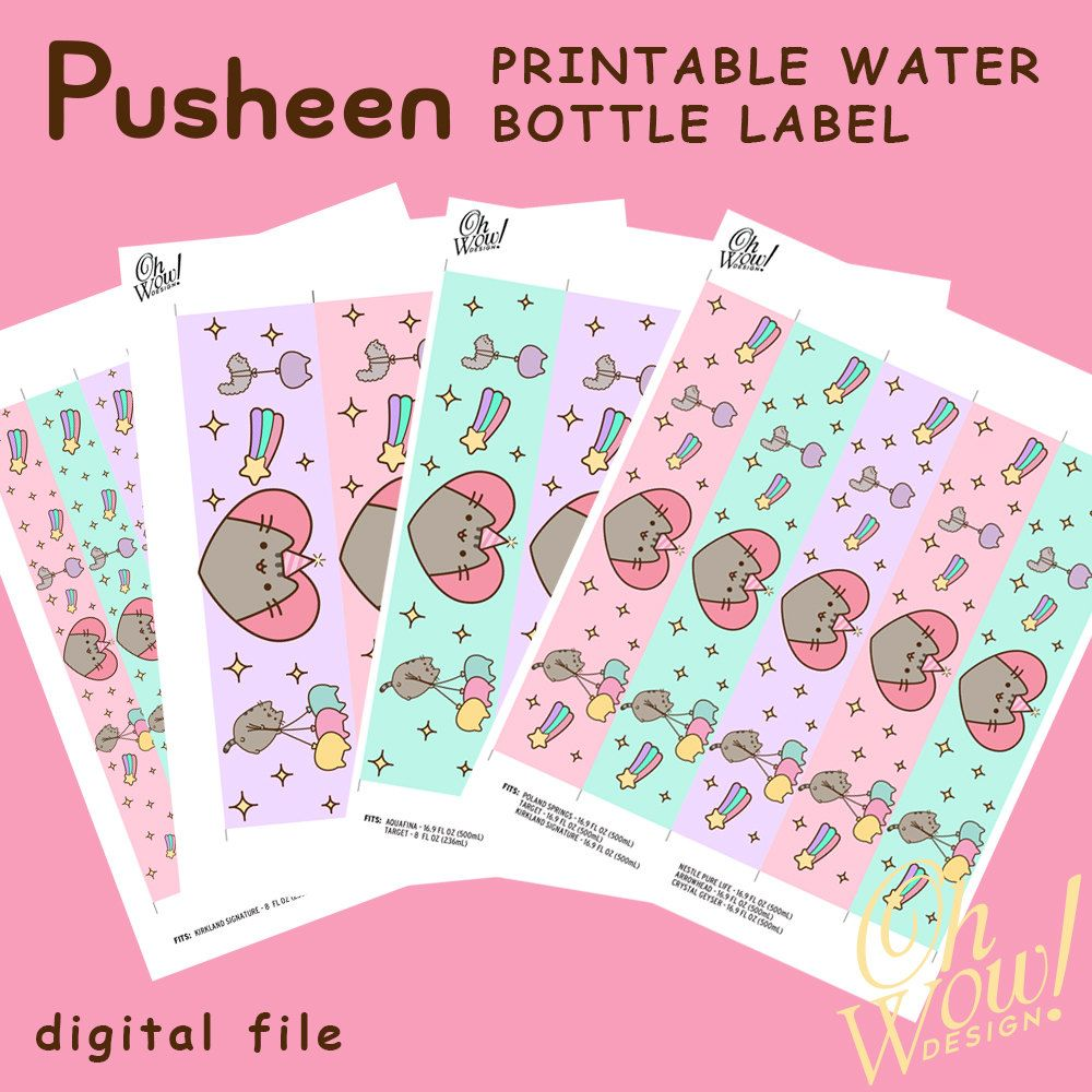 Pusheen Water Bottle Labels Letter Size Print Files by