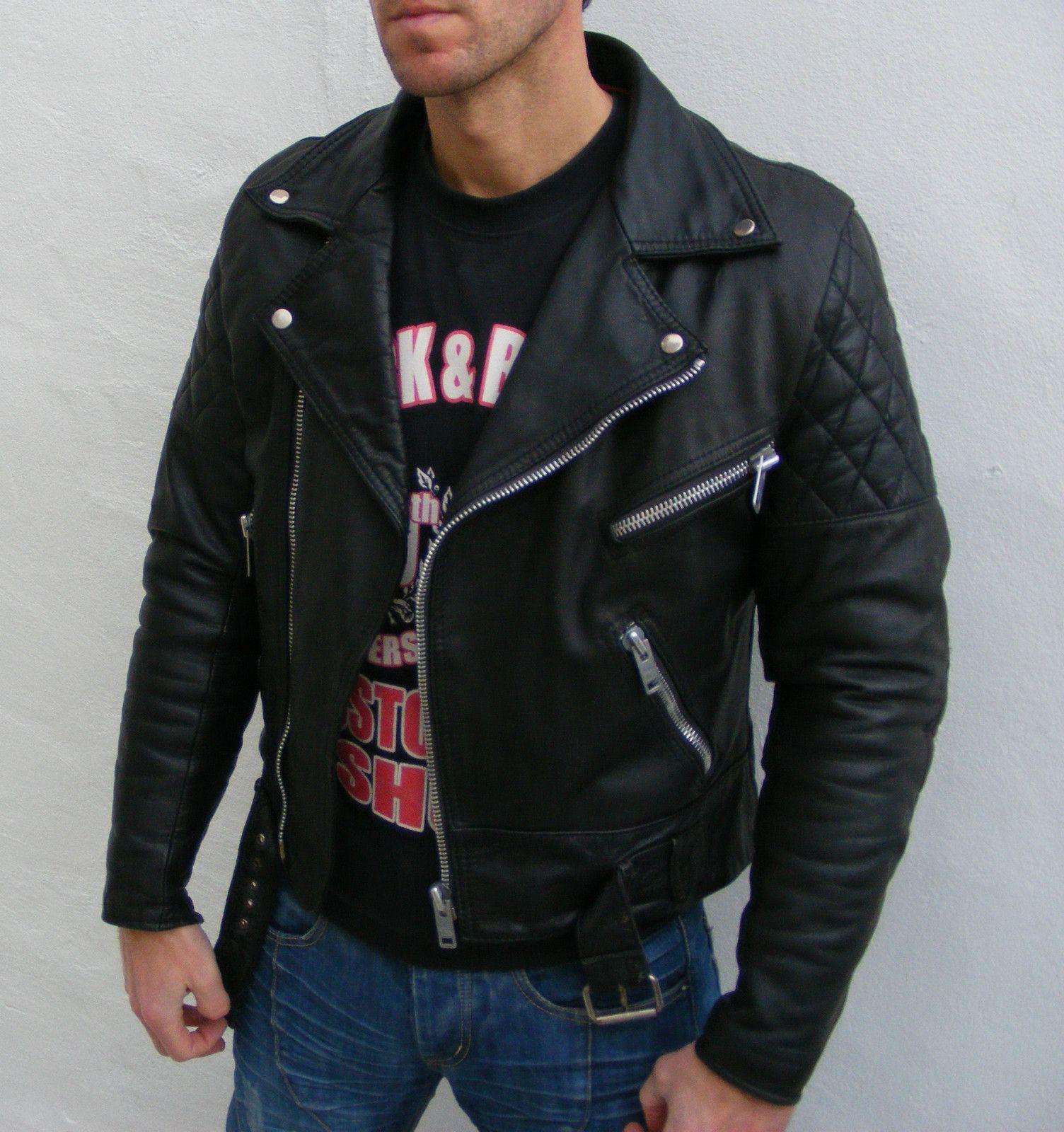 Belstaff Jacket (Black Leather Biker Cafe Racer Jackets