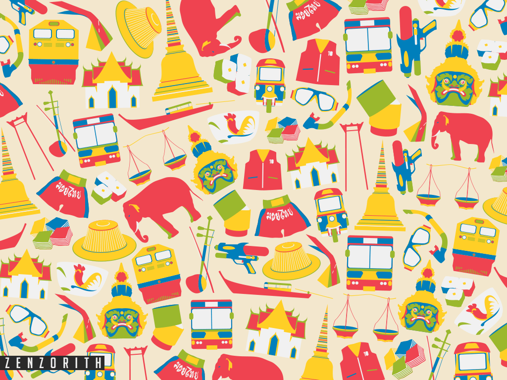 Thai doodle pattern by on