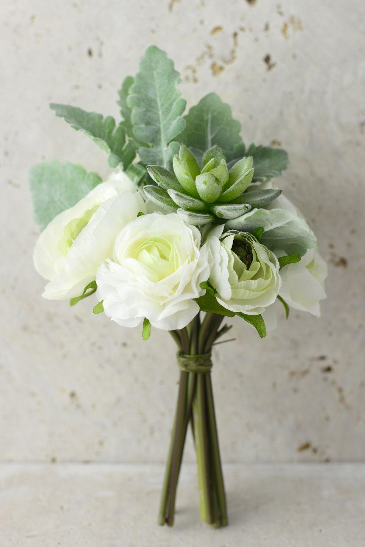 White Flowers & Succulent Bouquet Green cream