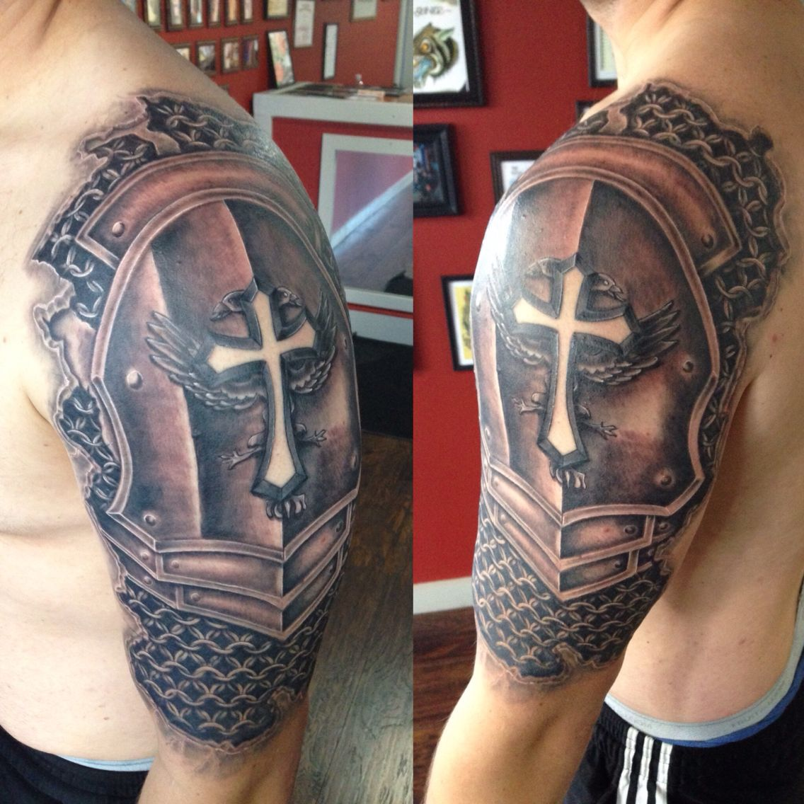 Armor sleeve coverup tattoo by Joshua Nordstrom in