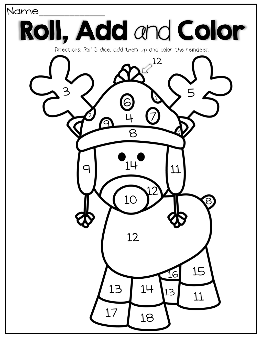 Roll 3 Dice Add Them Up And Color The Reindeer What A