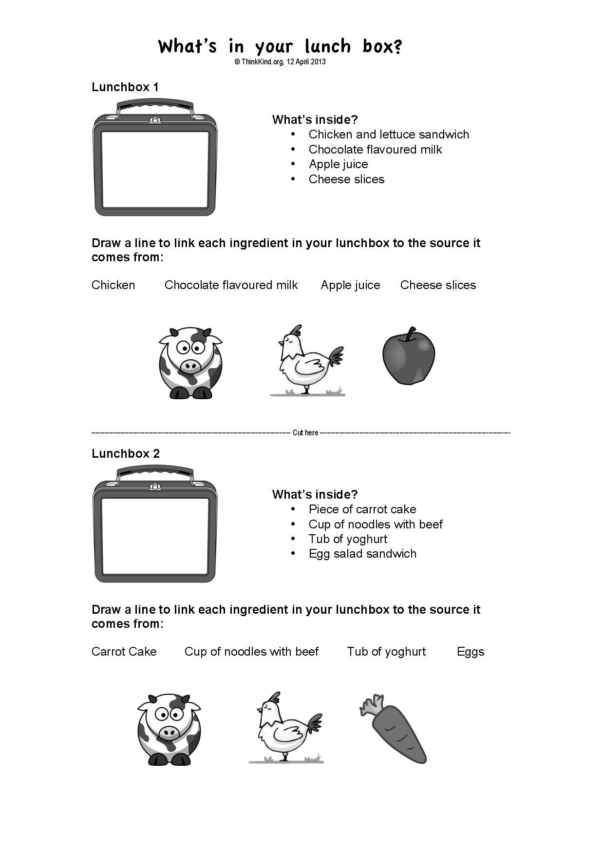 1 2 What S In Your Lunchbox Paddock To Plate Worksheet