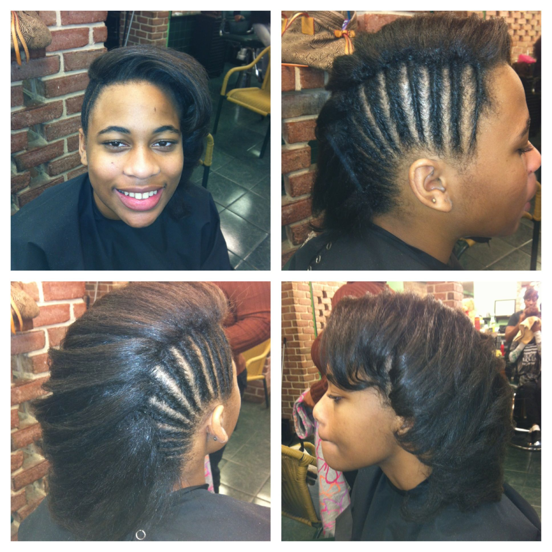 Natural hair Flat ironed & Mohawk Hair hair hair