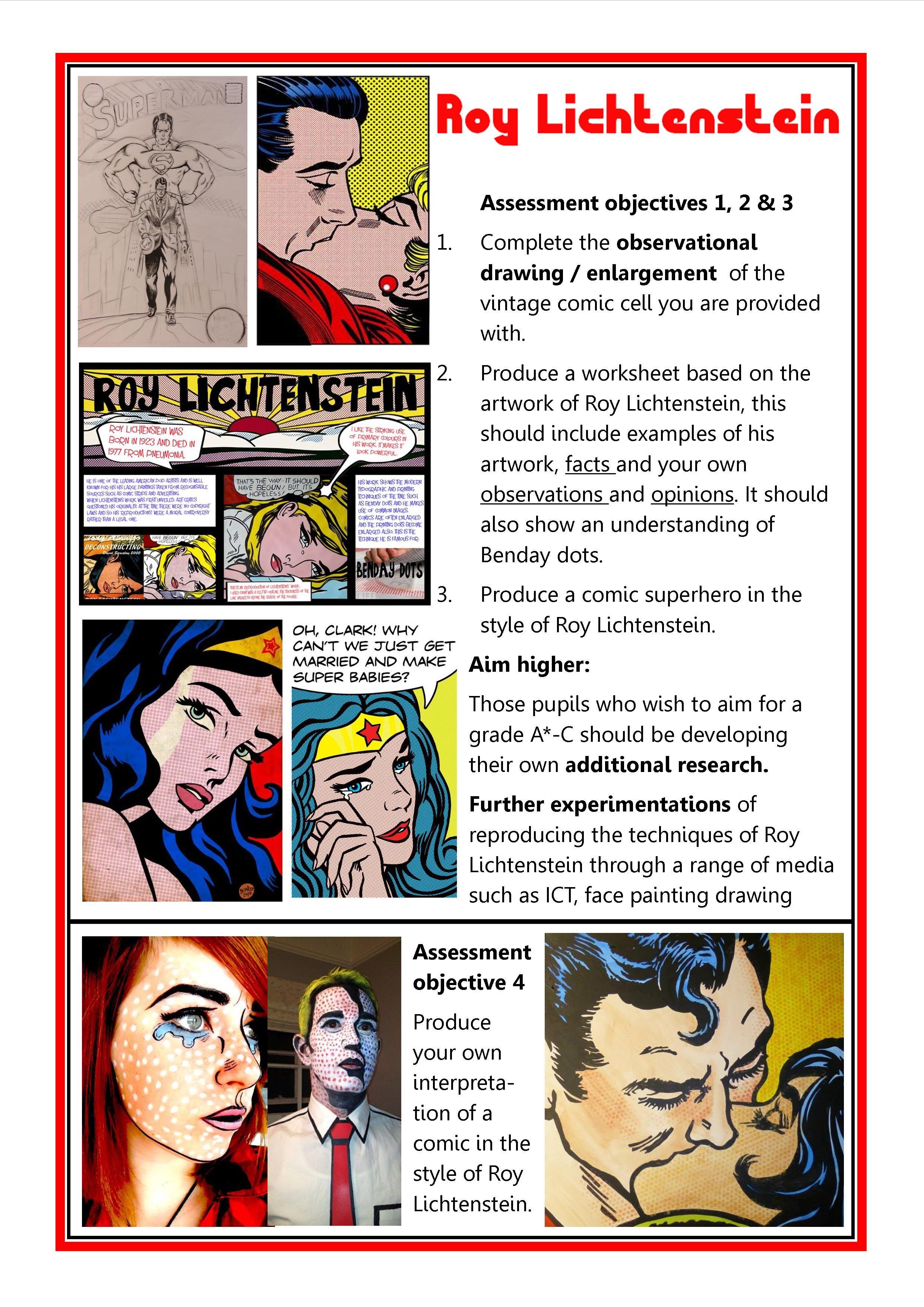 Roy Lichtenstein Gcse Art Checklist