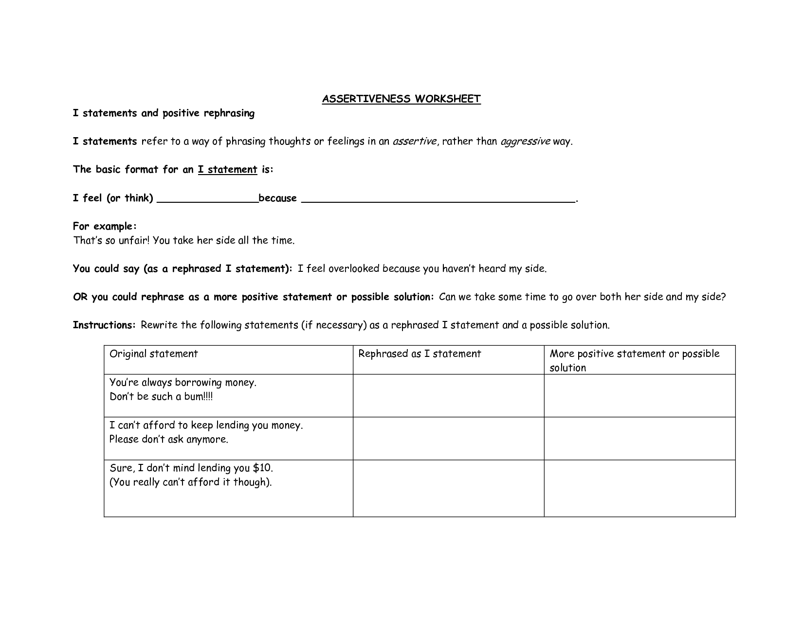 I Statements Communication Skills Worksheet