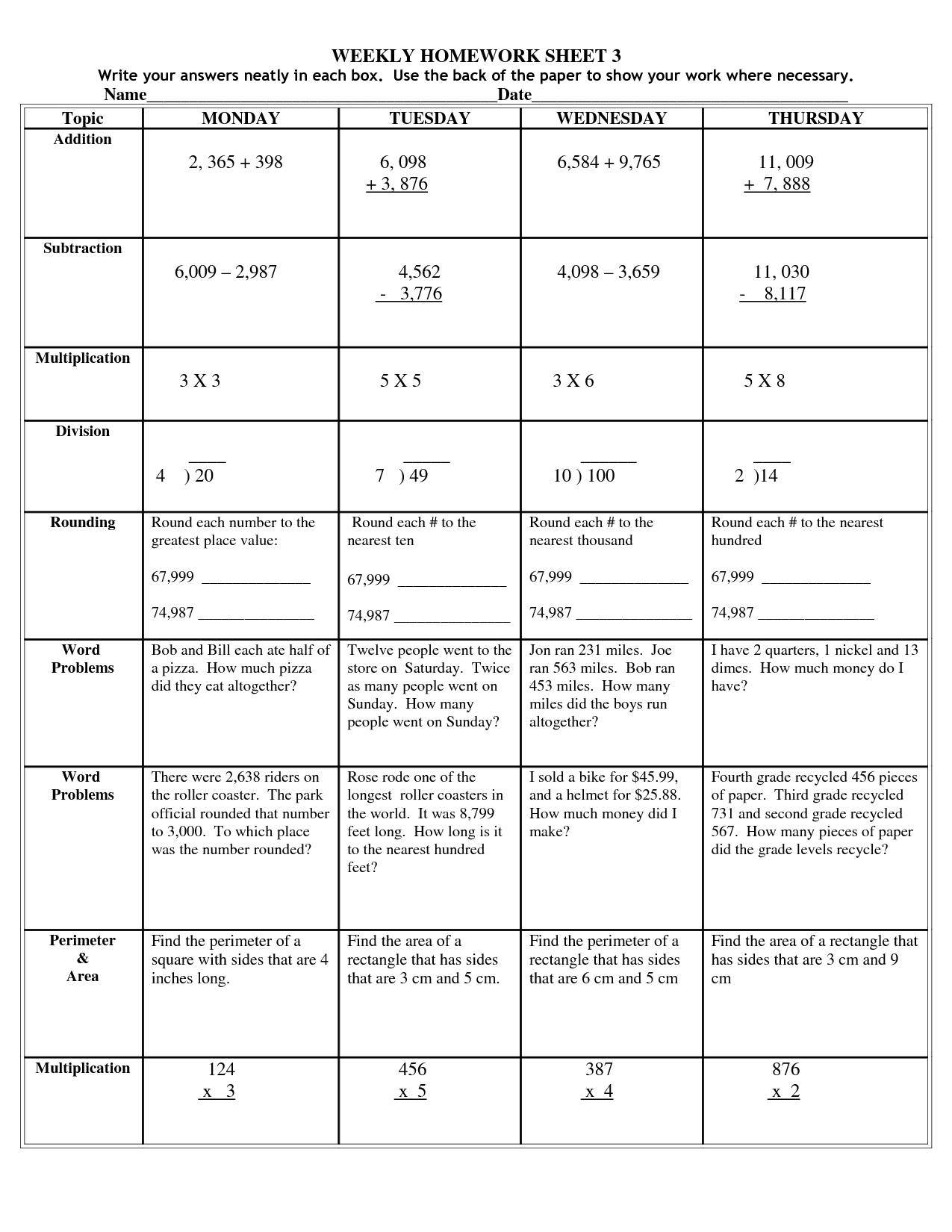 4th Grade Homework Sheets