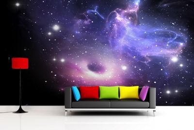 bright galaxy wallpaper wall mural | video game rooms | pinterest
