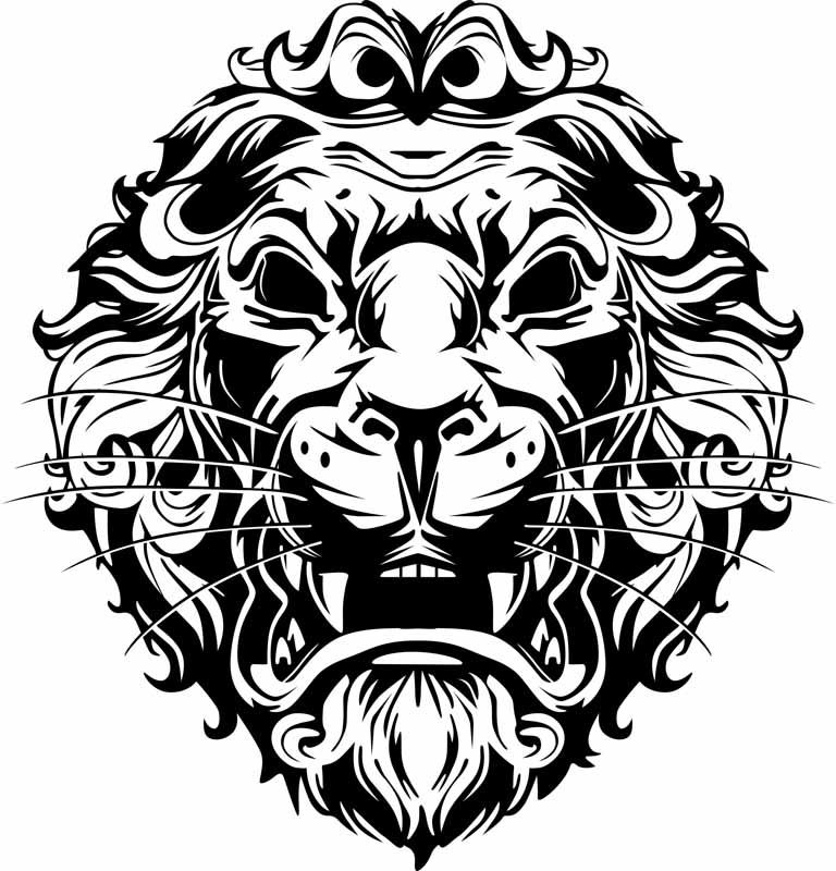 Convert Raster Image To Vector Lion black and white print