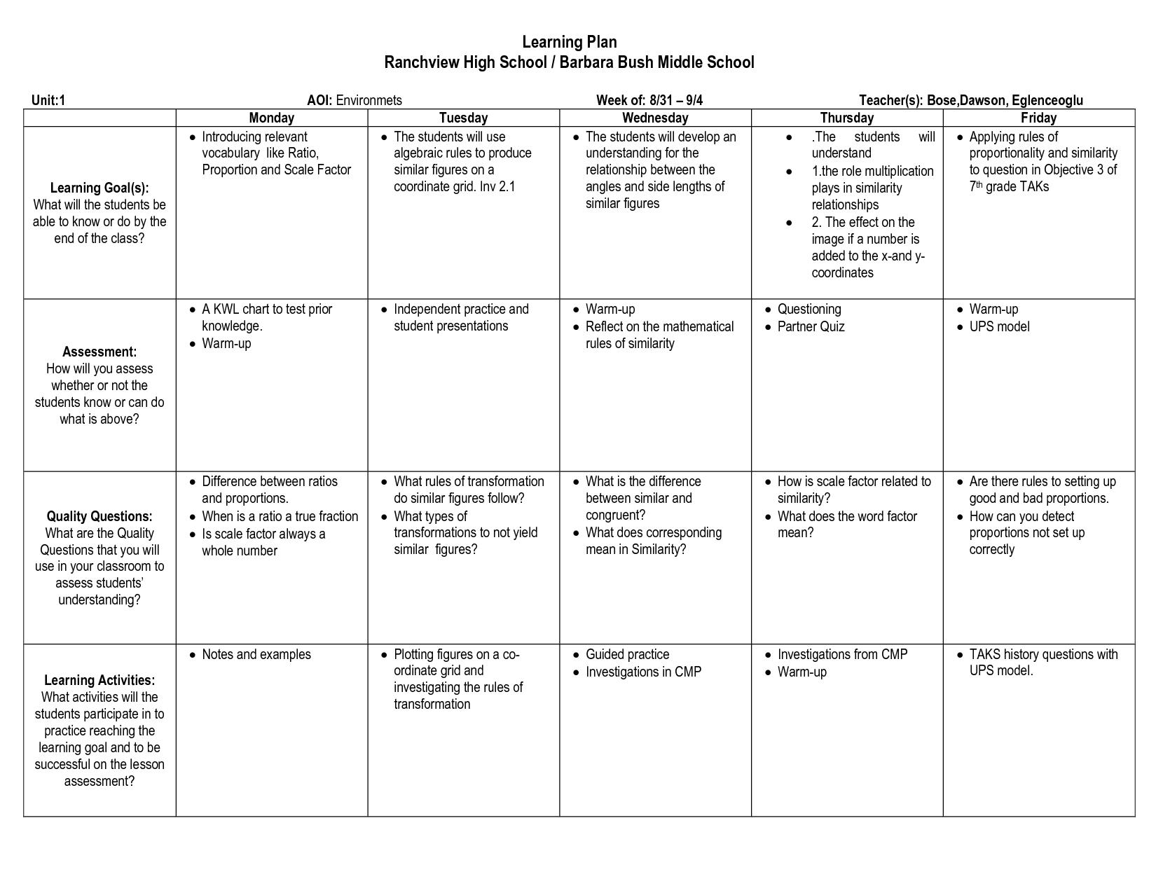 Learning Plans Or Goals For Teachers