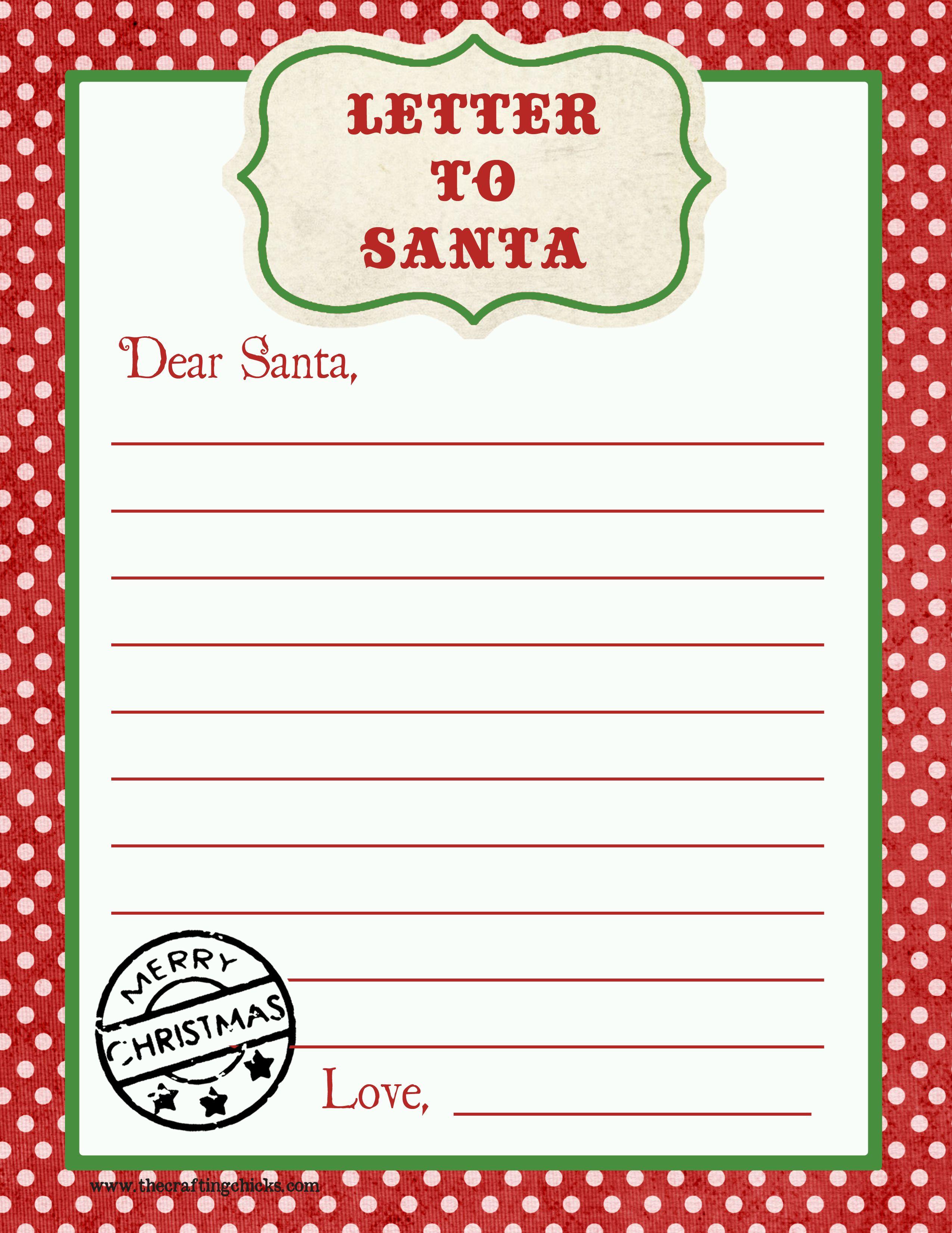Letter to Santa Free Printable Download Free printable