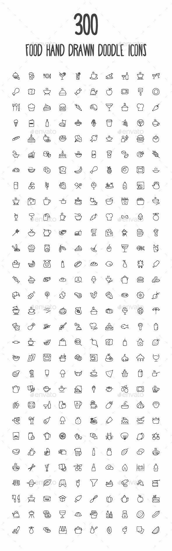 300 food hand drawn doodle icons Bullet Journal BuJo