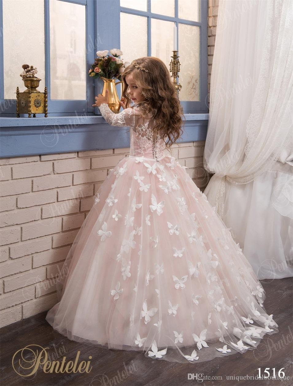 Butterfly Flower Girls Dresses 2017 Pentelei with Long