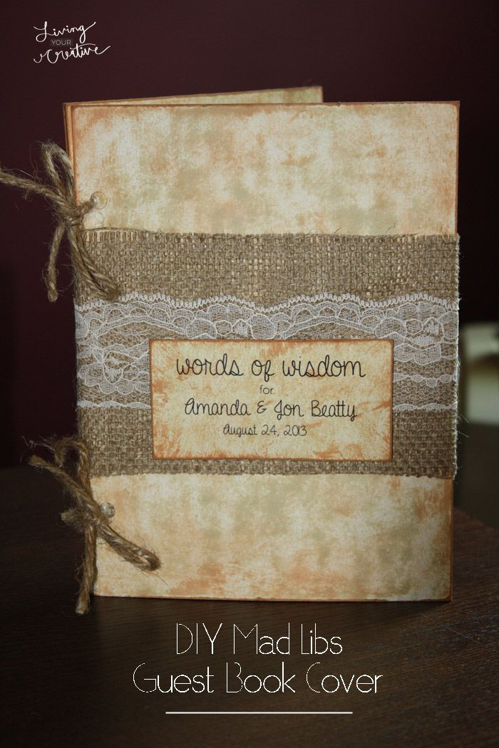 Make your own DIY Wedding Mad Libs guest book cover for