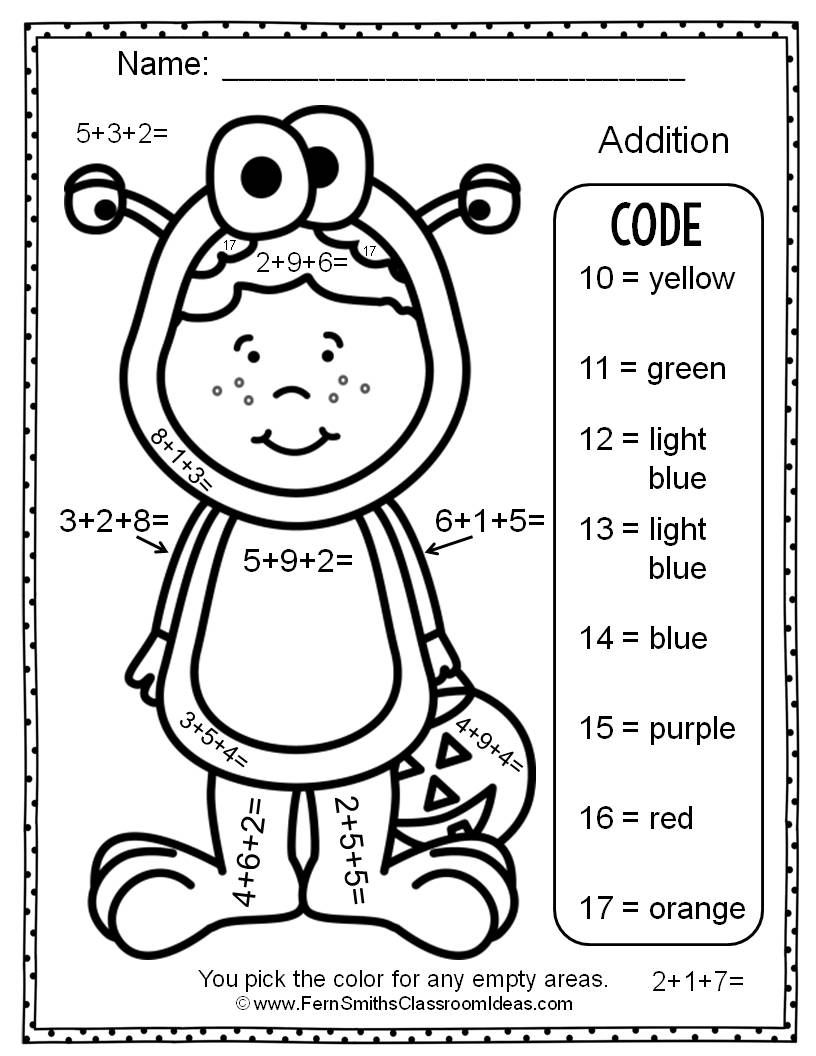 Two FREE Halloween Color By Numbers Addition With Three