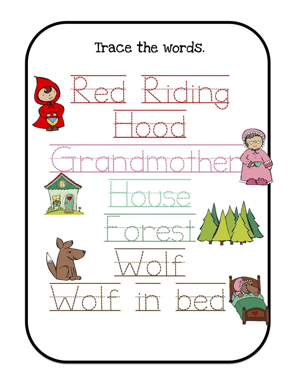 Printables For Many Units Themes I Would Use Little Red