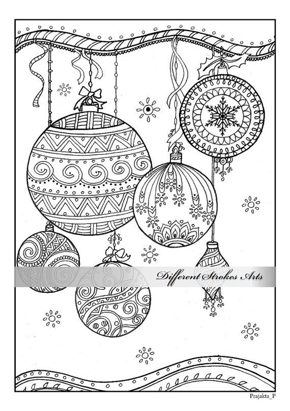 Christmas ornaments coloring page by DifferentStrokesArts