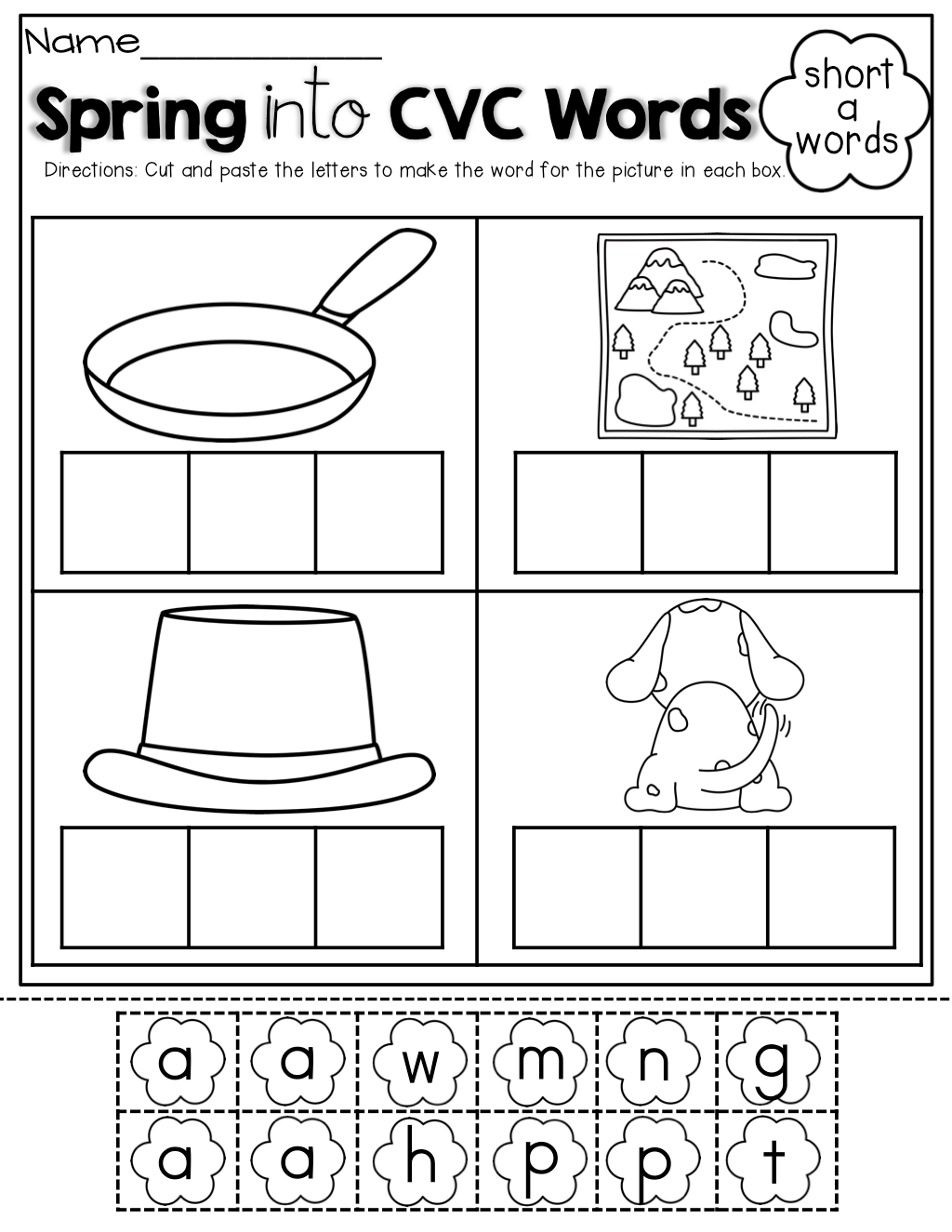 Cut And Paste Cvc Worksheets Free