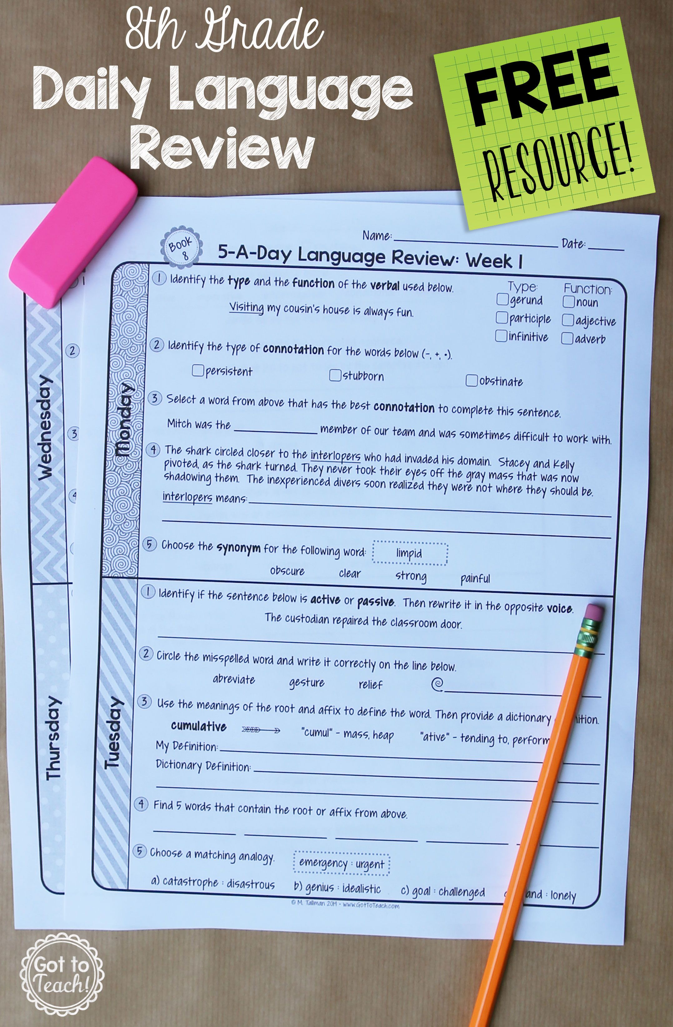 A Free Daily Language Review For 8th Grade Review Important Grammar And Vocabulary Skills Each