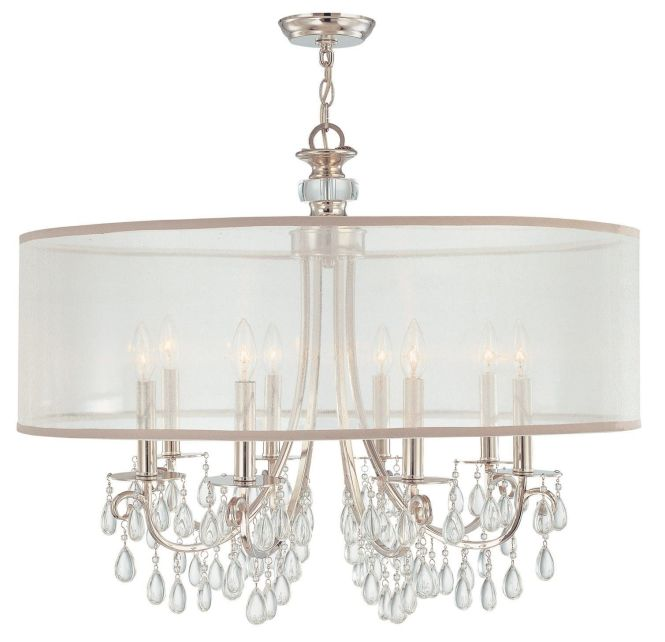 Hampton 8 Light 32 Polished Chrome Crystal Chandelier With Silver Drum Shade 638
