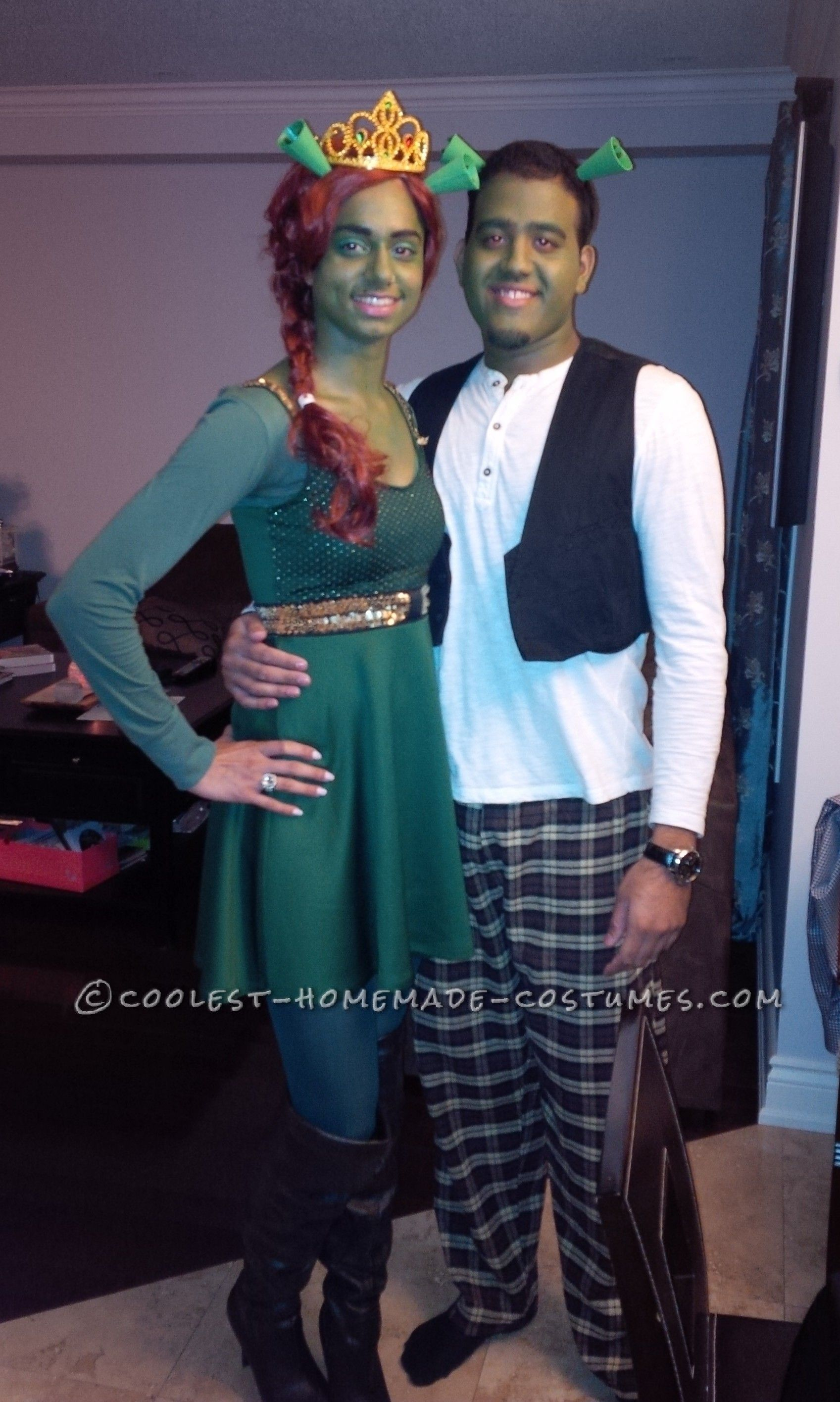 Easy DIY Shrek and Fiona Couple Costume Created from