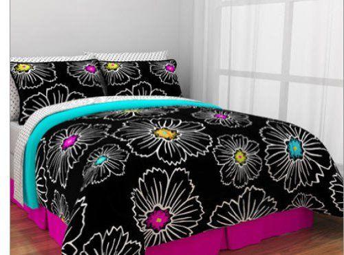 Hot Pink Teal Black S Queen Comforter Set 8 Piece Bed In