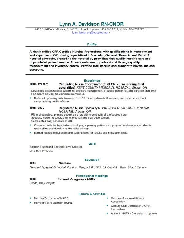 Good Rn Resume Sample. Samples Of Nursing Resumes Nursing Resume