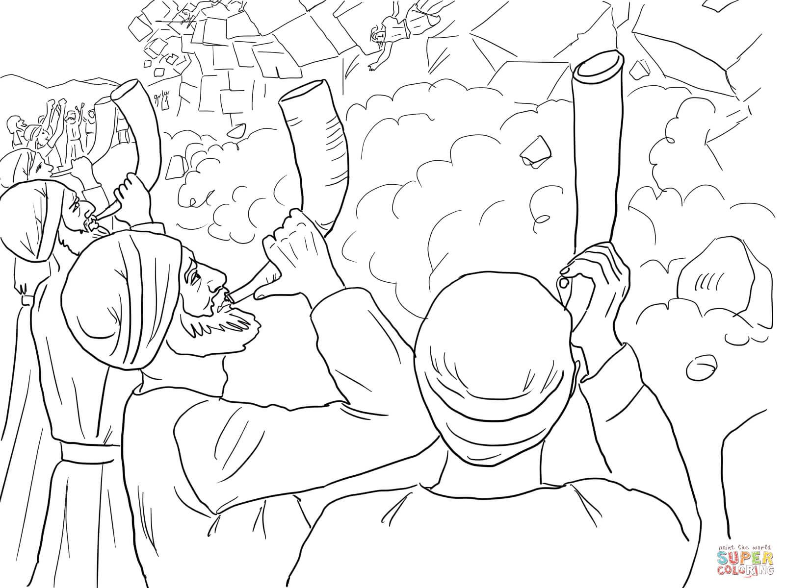 Walls Of Jericho Falling Coloring Page