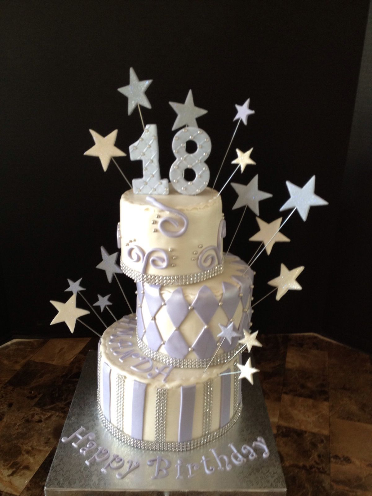 18 Birthday Cake White And Purple Girl Cakes