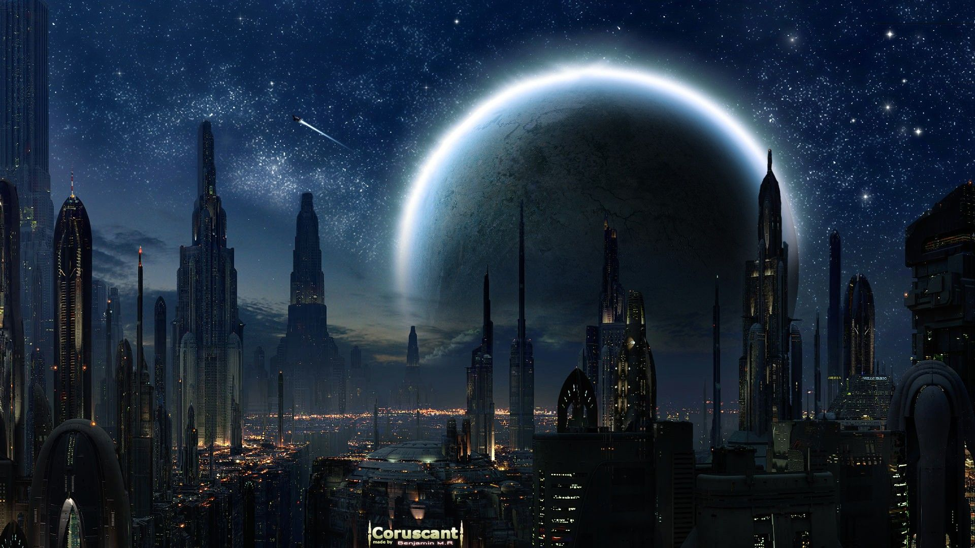 Coruscant 3d architecture cityscape moon cgVintage from