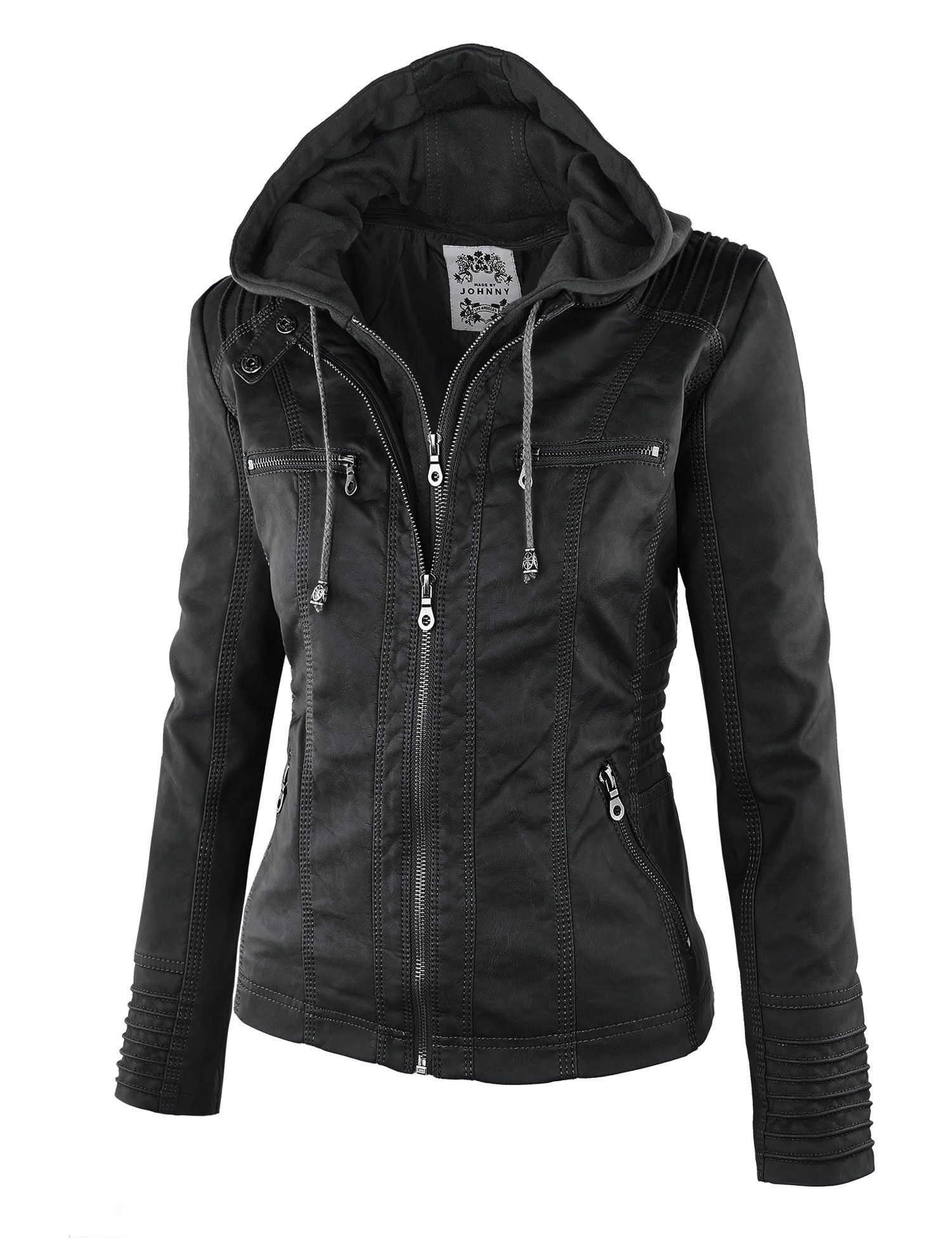LL Womens 2ForOne Hooded Faux leather Jacket at Amazon