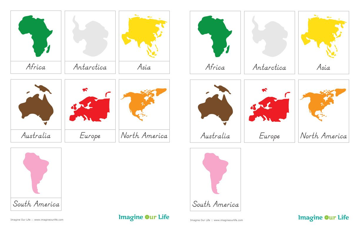 Montessori Continents Map Sewalong And Continents Free 3