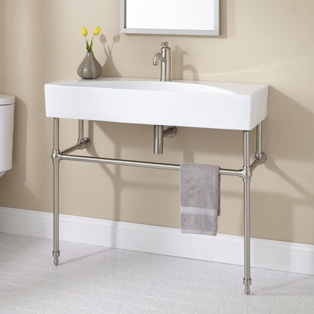 Zita Console Sink with Brass Stand Console Sinks Bathroom