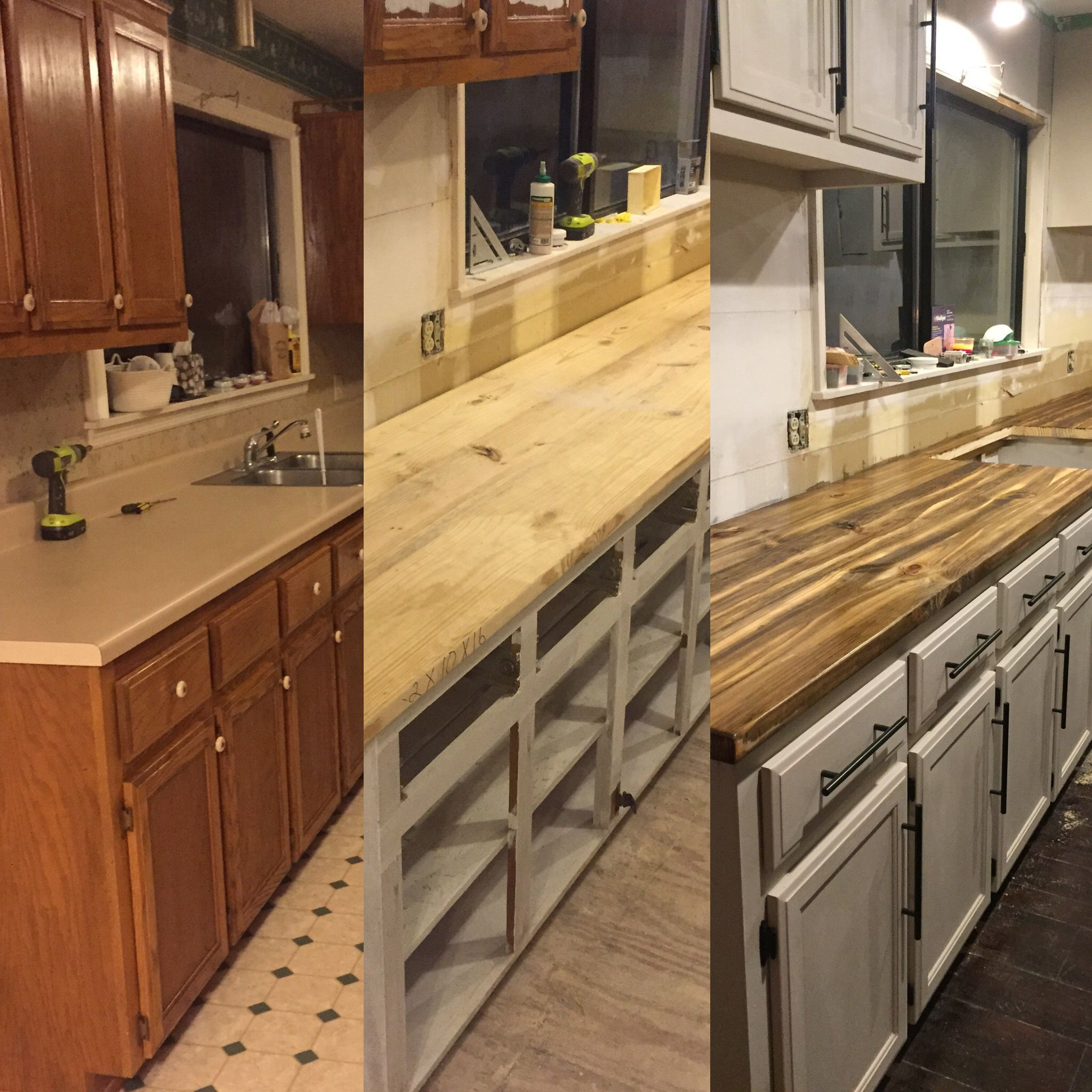 before & after countertops! DIY! Cheap! This is 2 x 4 wood