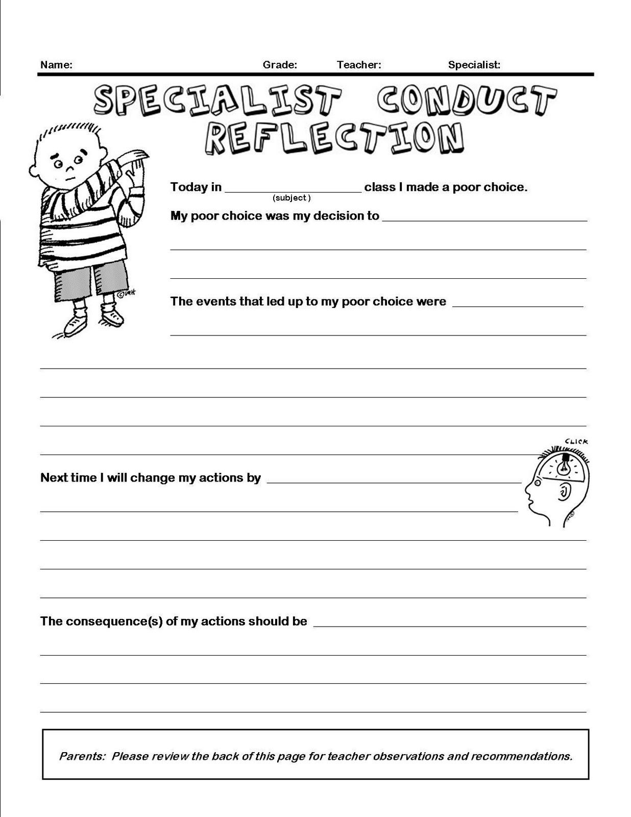 Classroom Management Conduct Reflection Form