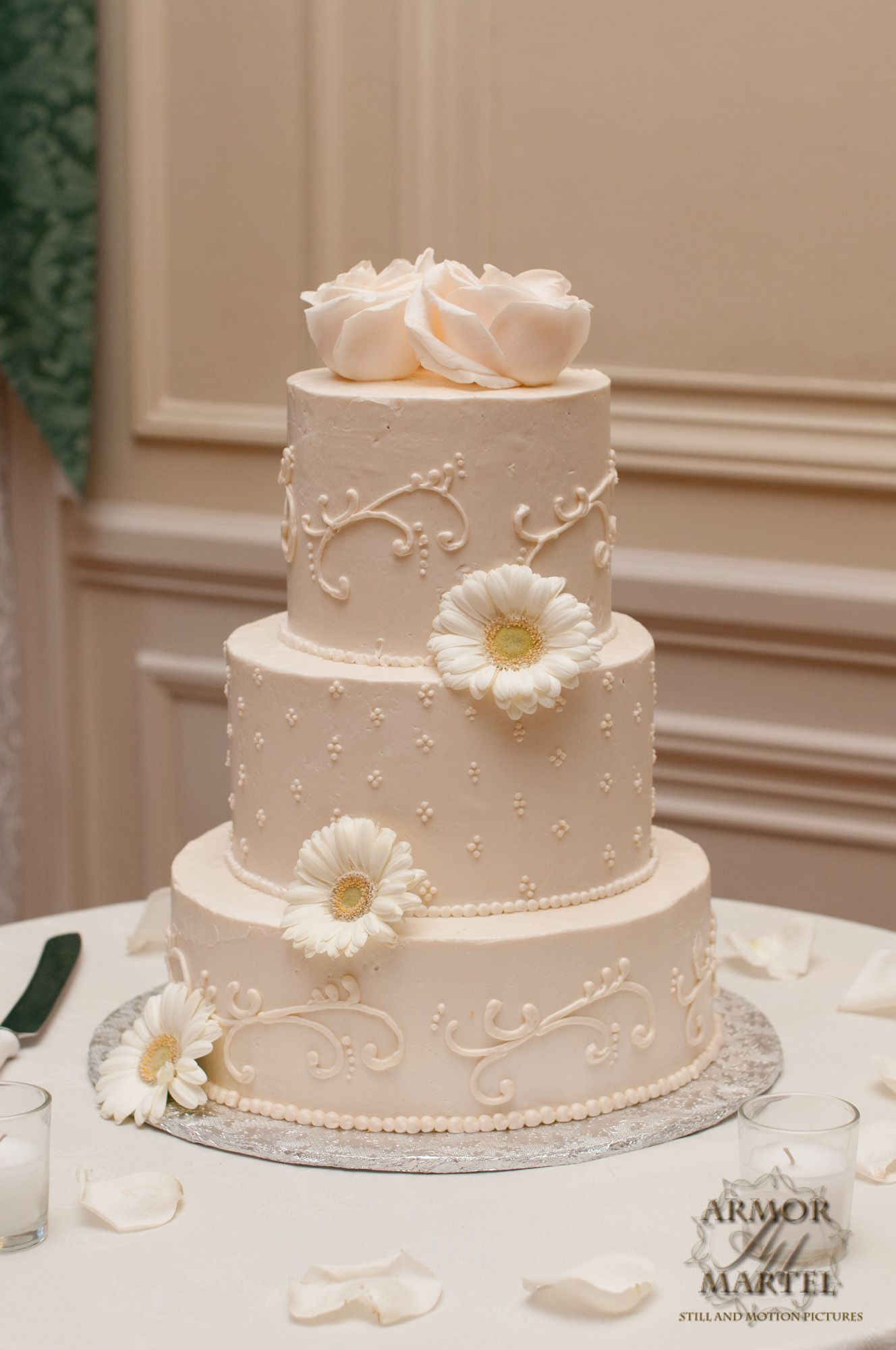 White on white buttercream, scroll work, piping, simple