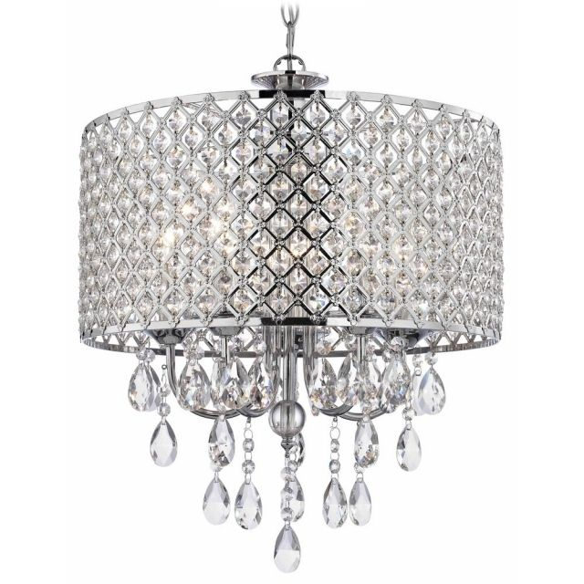 Amazing Crystal Chrome Chandelier Pendant Light With Beaded Drum Pendants