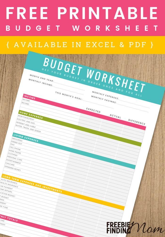 FREE Printable Household Budget Worksheet Excel & PDF