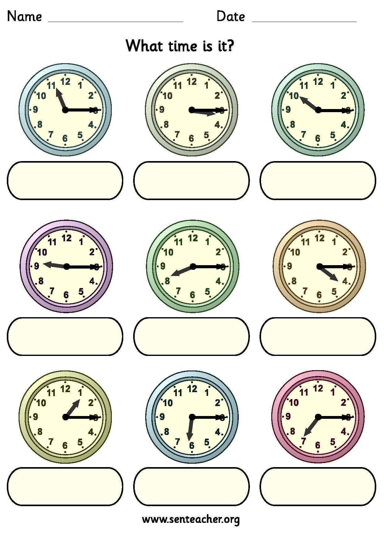 Worksheet Containing 9ogue Clocks Showing Quarter