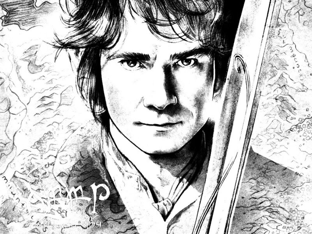 A Realisic Sketch Of Bilbo Baggins From The Hobbit