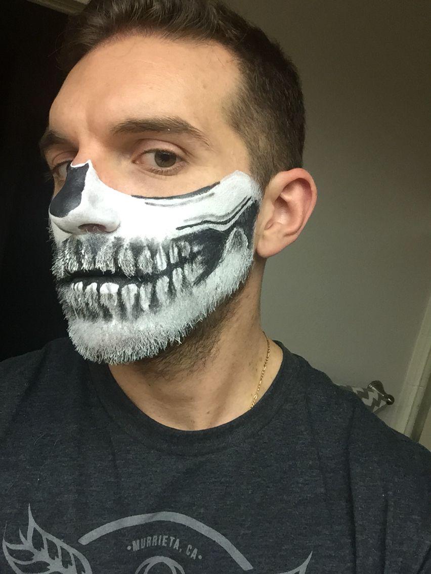 Skeleton on bearded man skeletonmakeup skeleton